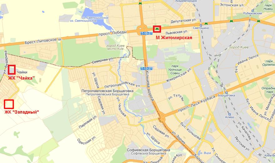 ЖК Западный на карте
