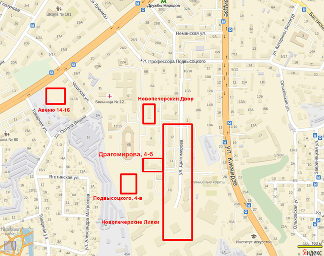 ЖК на Драгомирова 4-б на карте