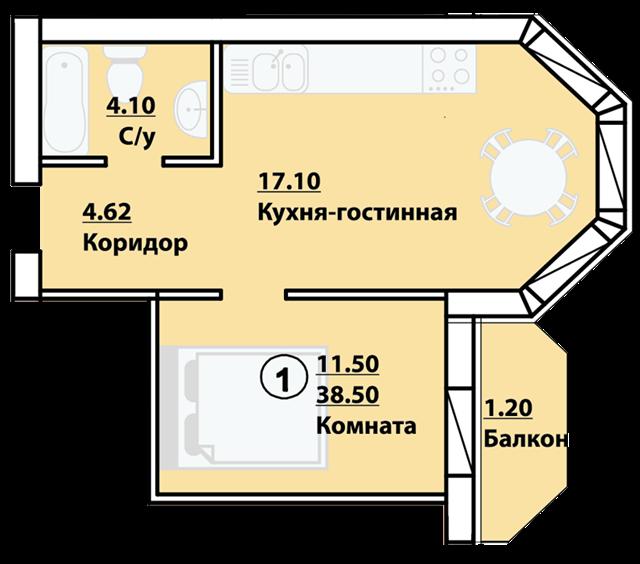 "ЖК ""Велесгард"" 1 комнатная"