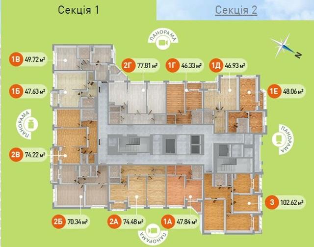 ЖК на Армянской, 6-а 1 секция поэтажный план
