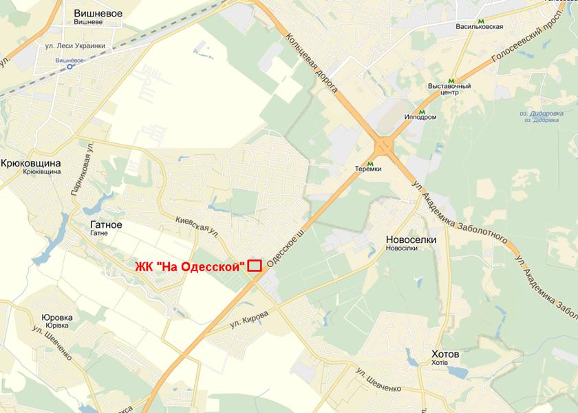 ЖК «На Одесской» в Гатном на карте