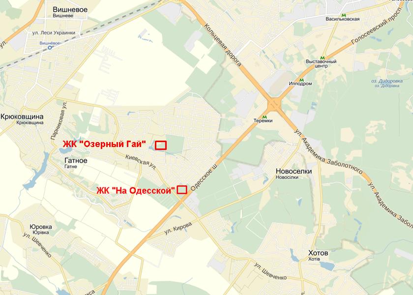 ЖК «Озерный Гай» на карте