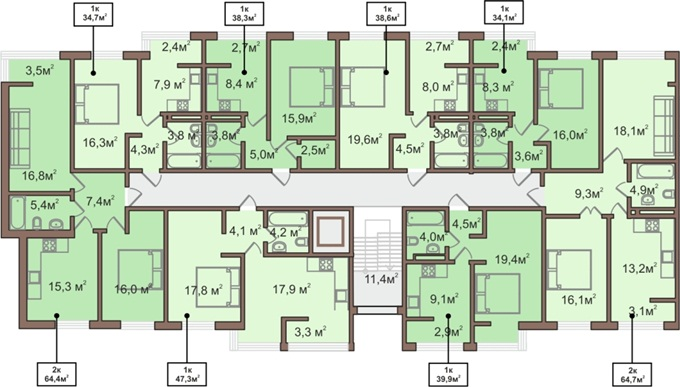 ЖК «ParkLand» 1 секция 2 - 6 этажи