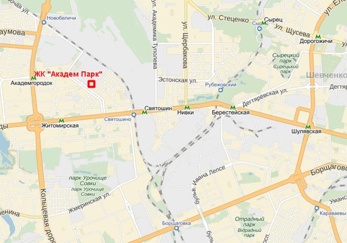 ЖК «Академ Парк» на карте