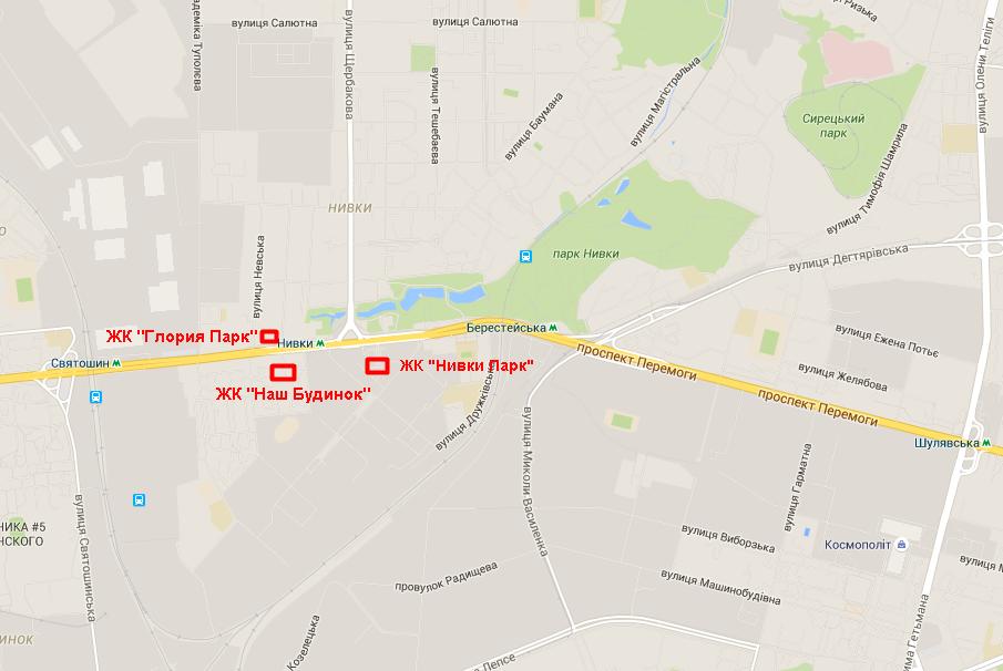 ЖК «Нивки Парк» на карте