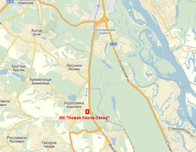ЖК «Новая Конча-Заспа» на карте
