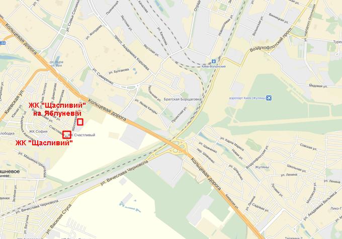 ЖК «Щасливий» в Софиевской Борщаговке на карте 1