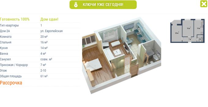 ЖК «Европейське мисто» 2 комнатная