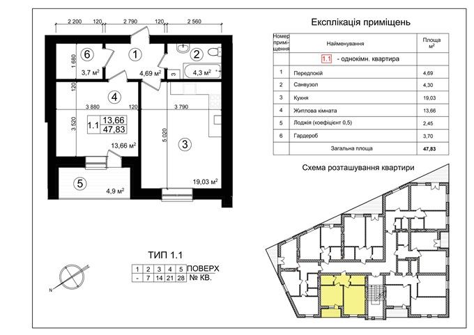 ЖК «Козацкий Гай» 1-комнатная