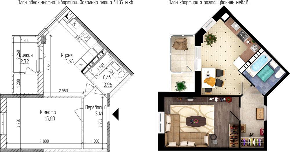 ЖК «Новая Буча» 1 комнатная