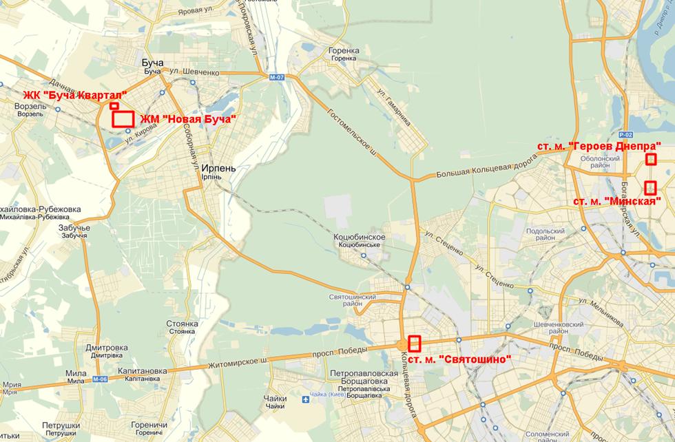 ЖК «Новая Буча» на карте