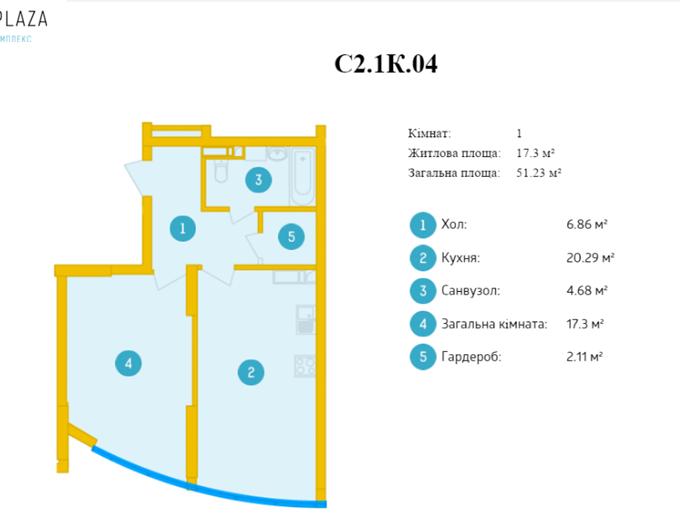 ЖК Смарт Плаза на Политехе однокомнатная квартира планировки