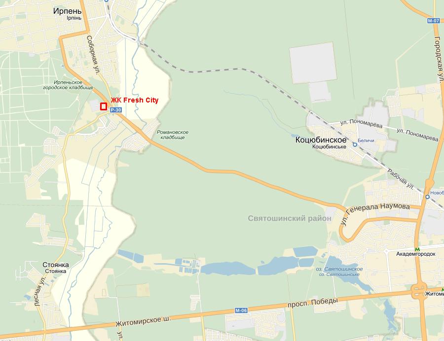 Микрорайон «Фреш Сити» в Ирпене карта