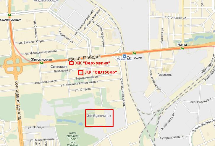 ЖК «Верховина» от Укрбуд карта