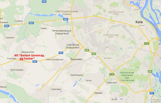 ЖК «Белый Шоколад. Center» в Белогородке на карте