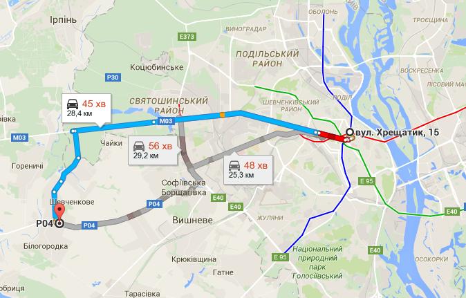 ЖК «Белый Шоколад. Center» в Белогородке маршруты на карте