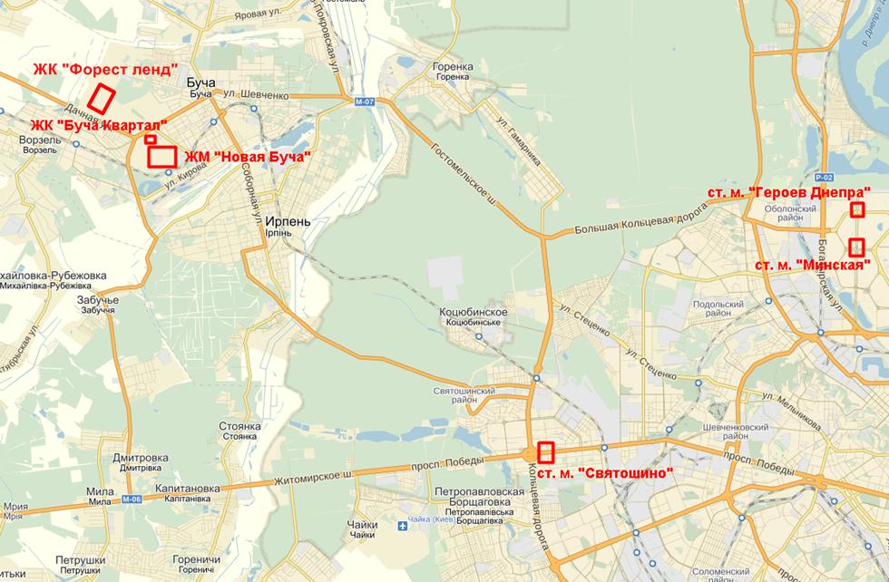 ЖК «Форест Ленд» в Буче на карте