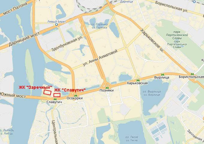 ЖК «Славутич» на карте