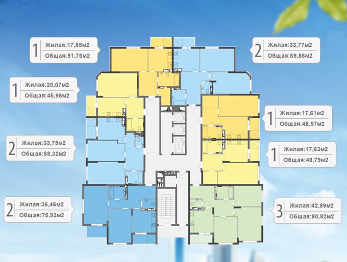 ЖК «Традиция» от Интергалбуд поэтажный план первого дома