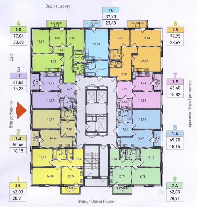 ЖК «Традиция» от Интергалбуд поэтажный план третьего дома