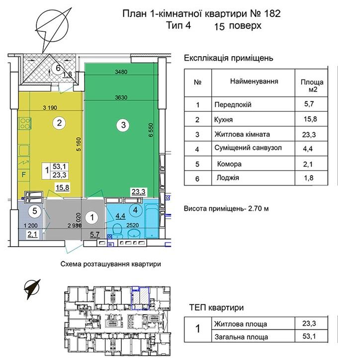 ЖК на Теремковской, 3 от Спецжитлофонда планировка однокомнатной квартиры