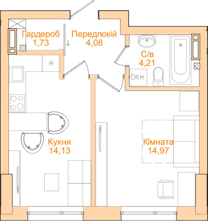 ЖК Новопечерский квартал №5 планировка однокомнатной квартиры