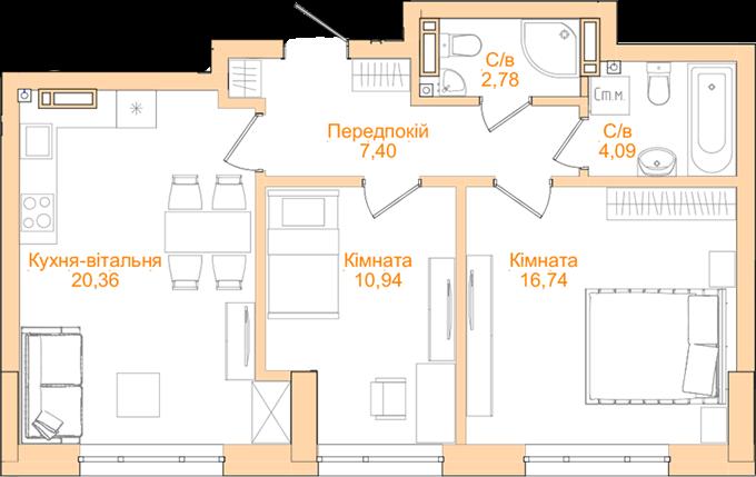 ЖК Новопечерский квартал №5 планировка двухкомнатной квартиры