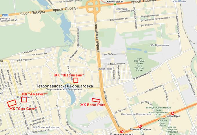 ЖК Эко Парк в Петропавловской Борщаговке на карте