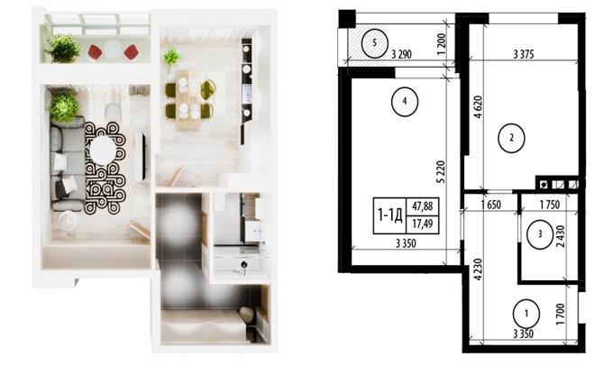 ЖК Фемили Таун - ЖК Тесла Хаус на ул. Дехтяревская планировка однокомнатной квартиры