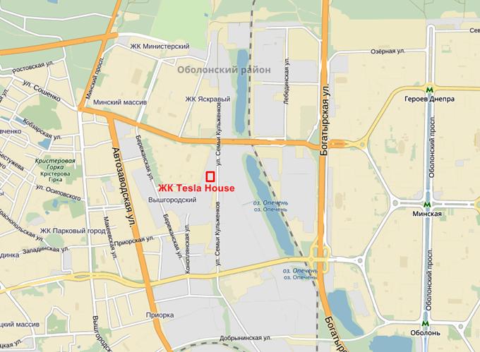 ЖК Фемили Таун - ЖК Тесла Хаус на ул. Дехтяревская на карте