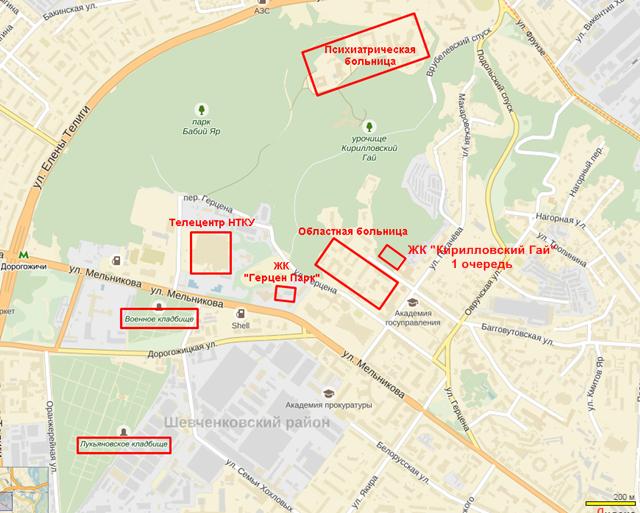 ЖК «Кирилловский Гай» от Укрбуда карта