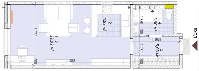 ЖК «Новая Англия» от Royal House планировка однокомнатной квартиры