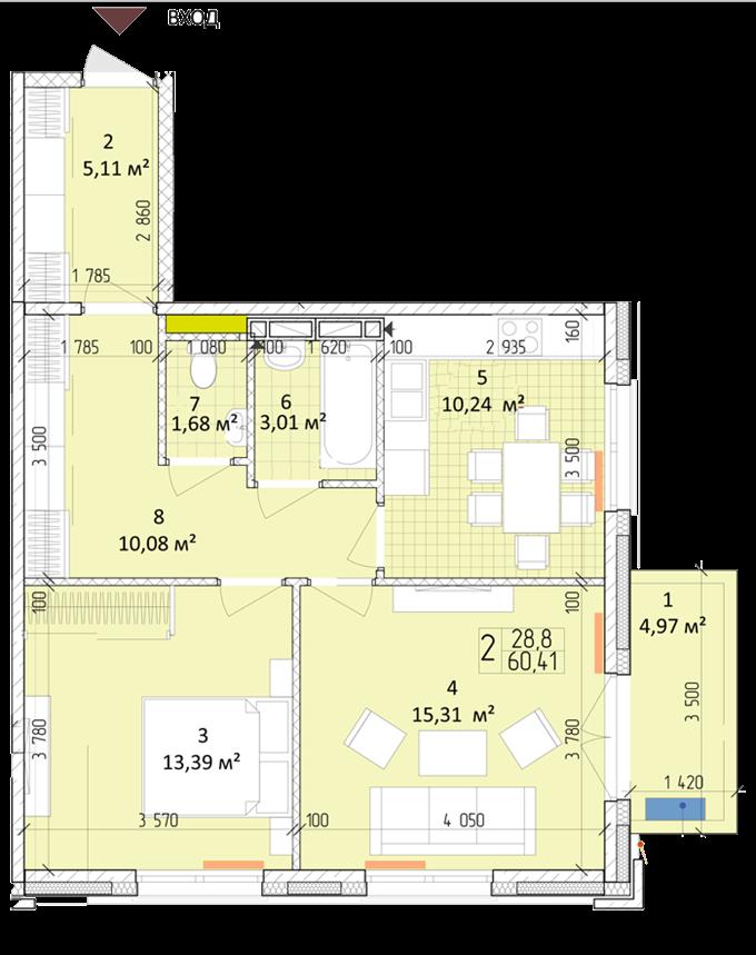 ЖК «Новая Англия» от Royal House планировка двухкомнатной квартиры