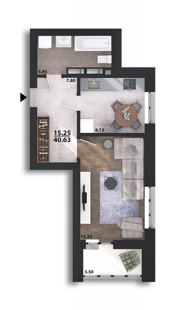 ЖК Парковый квартал «Город цветов» планировка однокомнатной квартиры в монолитном доме
