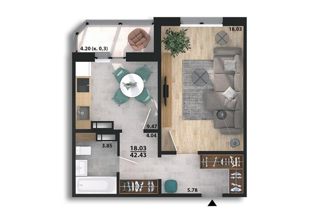 ЖК Парковый квартал «Город цветов» планировка однокомнатной квартиры в панельном доме