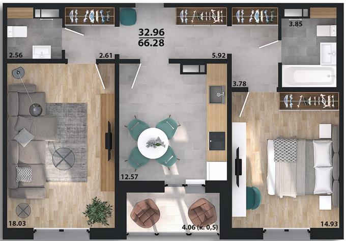 ЖК Парковый квартал «Город цветов» планировка двухкомнатной квартиры в панельном доме