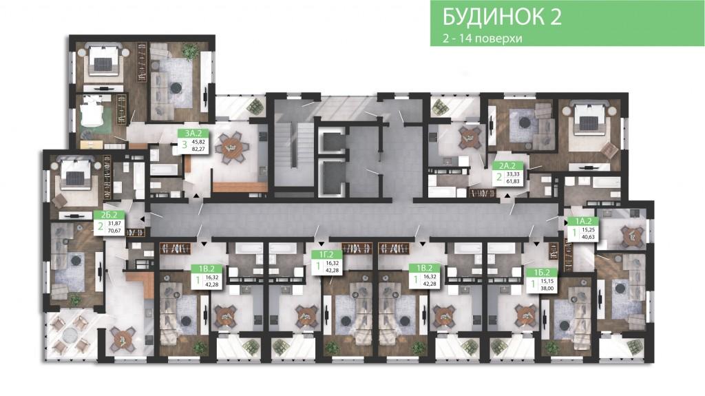 ЖК Парковый квартал «Город цветов» поэтажный план второго дома