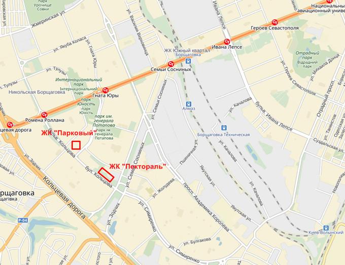 ЖК «Пектораль» от Укрбуд на карте