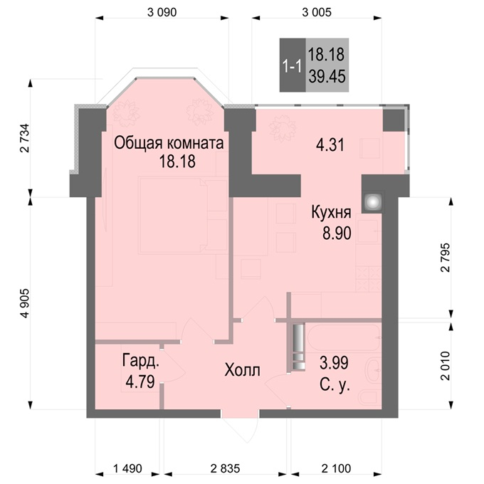 ЖК Софиевская Сфера в Софиевской Борщаговке планировка однокомнатной квартиры с эркером