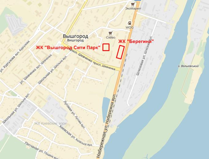 ЖК «Вышгород Сити Парк» на карте