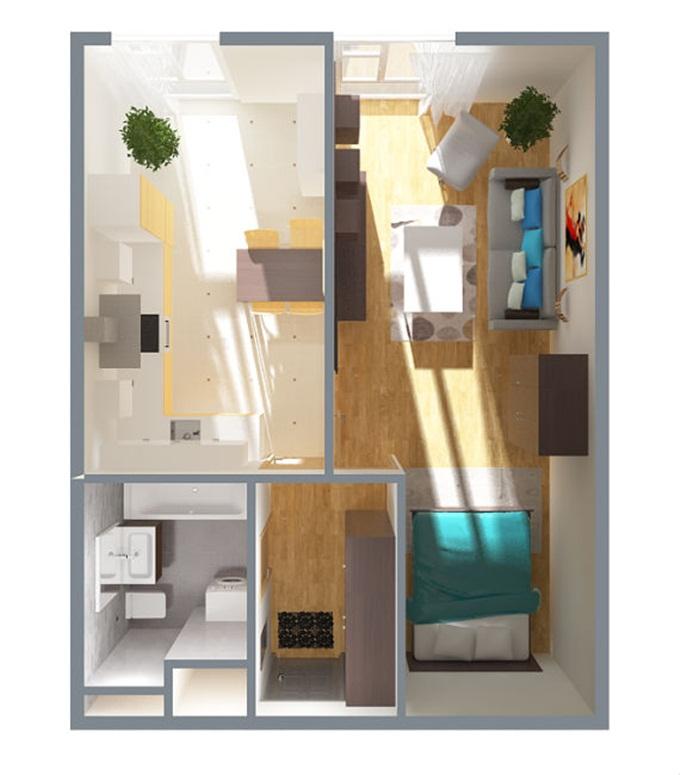 ЖК iHome в Крюковщине планировка однокомнатной квартиры