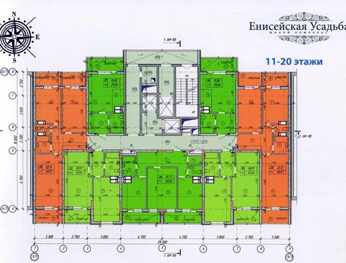 Год спустя: ЖК «Енисейская усадьба» поэтажный план первой секции с 11 по 20 этаж