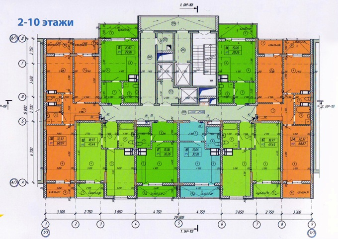 Год спустя: ЖК «Енисейская усадьба» поэтажный план первой секции со 2 по 10 этаж