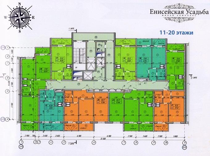 Год спустя: ЖК «Енисейская усадьба» поэтажный план второй секции с 11 по 20 этаж