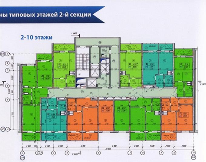Год спустя: ЖК «Енисейская усадьба» поэтажный план второй секции со 2 по 10 этаж