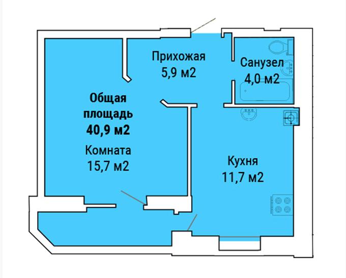 ЖК «Петропавловский Посад» в Петропавловской Борщаговке планировка однокомнатной квартиры