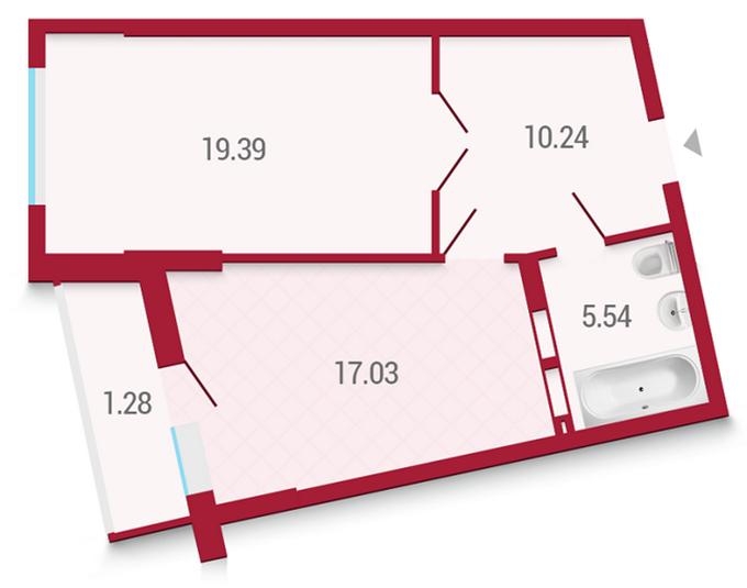 ЖК «Покрова» от Укрбуд планировка однокомнатной квартиры