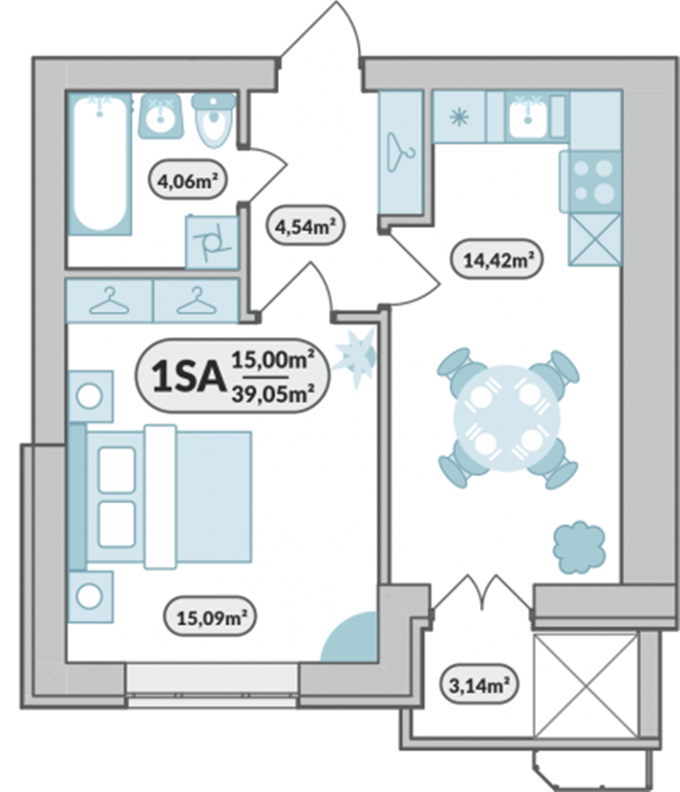 ЖК «7'я» в Щасливом планировка однокомнатной квартиры