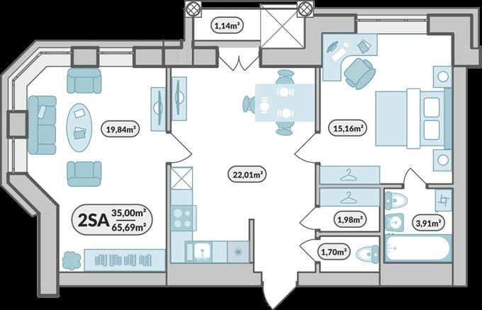 ЖК «7'я» в Щасливом планировка двухкомнатной квартиры