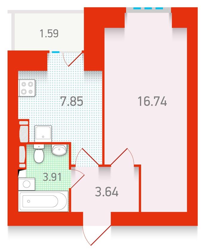 ЖК «Чарiвне мiсто» от Укрбуд планировка однокомнатной квартиры